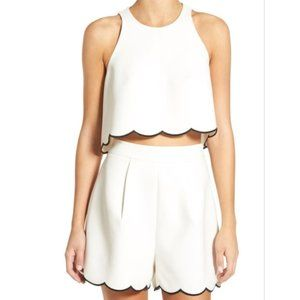 Kendall and Kylie Scalloped Hem crop top